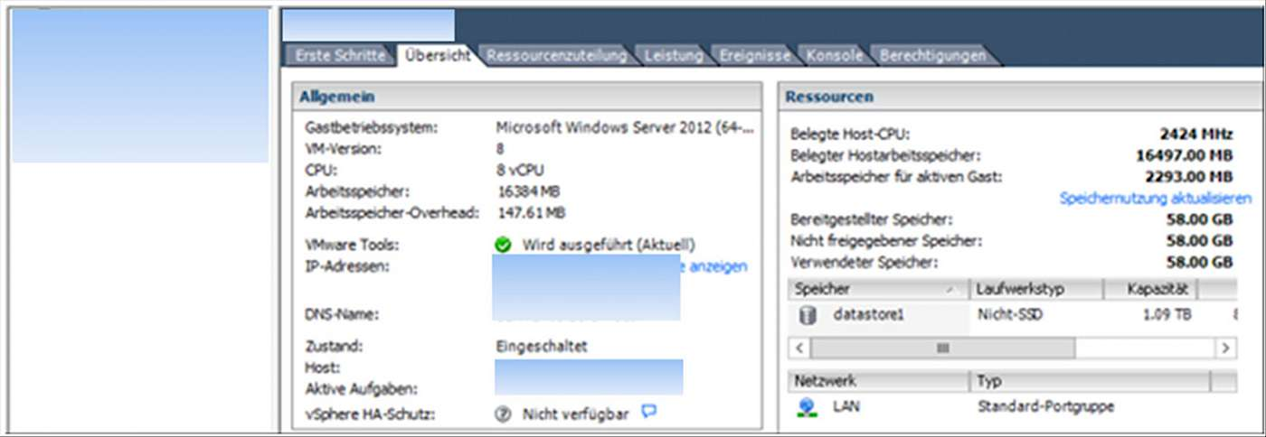 Screenshot: Übersicht Server03