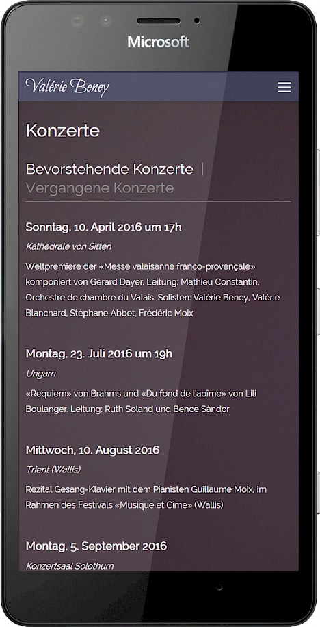 Screenshot: Konzertseite in der Mobilansicht