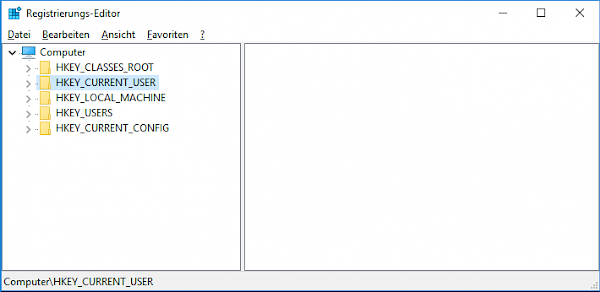 Screenshot: Registrierungseditor nach dem Start