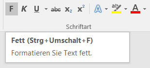 Screenshot: Tool-Tip mit Tastenkürzel in Word